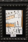 A MODERN FRAMED OIL ON BOARD OF FIGURES BY A WALL IN A LOWERY STYLE BY JOHN GOODLAD (INFO VERSO)