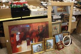 A COLLECTION OF PICTURES PRINTS AND MIRRORS TO INCLUDE A PAIR OF GILT FRAMED OIL ON CANVASES, PINE