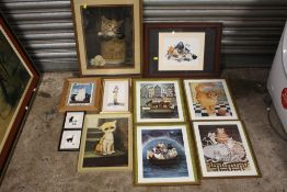 A COLLECTION OF CAT RELATED PRINTS TO INCLUDE A RETRO STYLE EXAMPLE (11)