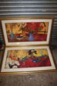 A PAIR OF LARGE GILT FRAMED AND GLAZED STILL LIFE STUDIES OF TABLE TOP SCENES - OVERALL SIZE 122CM X