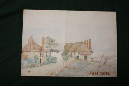 AFTER FRED YATES - AN UNFRAMED WATERCOLOUR OF COTTAGES, SIZE 25.5 CM X 17.5 CM