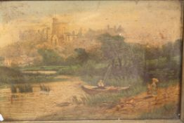 AN ANTIQUE GILT FRAMED OIL ON CANVAS OF A RURAL RIVER SCENE SIZE - 24CM X 16CM