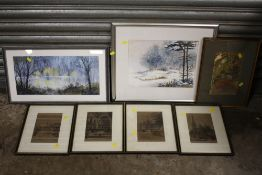 THREE ASSORTED FRAMED AND GLAZED WATERCOLOURS, TOGETHER WITH A SET OF FOUR ENGRAVINGS RELATING TO