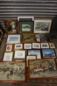 A LARGE QUANTITY OF PICTURES AND PRINTS TO INCLUDE A PAIR OF HUNTSMAN SCENES, WALL MIRROR ETC
