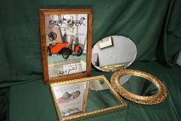 FOUR ASSORTED WALL MIRRORS TO INCLUDE AN MG ADVERTISING EXAMPLE, GILT FRAMED CIRCULAR MIRROR ETC.
