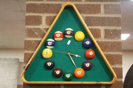 A NOVELTY POOL / BILLIARD BALL TRIANGULAR WALL CLOCK HEIGHT - 46CM