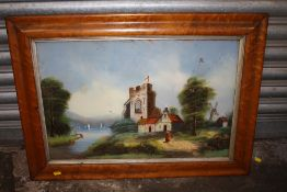 A SATINWOOD FRAMED REVERSE PAINTING ON GLASS DEPICTING A CHURCH BESIDE A RIVER A/F - SIZE 60CM X