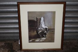 A FRAMED AND GLAZED PASTEL ENTITLED 'GRANDMA'S CHAIR' SIGNED R P HEATH
