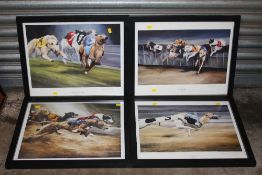 A SET OF FOUR FRAMED AND GLAZED SIGNED GREYHOUND RACING INTEREST PRINTS BY DAVID FRENCH OVERALL SIZE