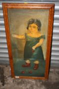 A MAPLE FRAMED OIL ON CANVAS DEPICTING A YOUNG GIRL HOLDING CHERRIES SIGNED HELENA THOMAS VERSO -
