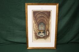 A FRAMED AND GLAZED COLOURED ETCHING OF EXETER CATHEDRAL BY EDWARD SHARLAND SIGNED IN PENCIL LOWER