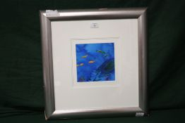 A FRAMED AND GLAZED ABSTRACT MIXED MEDIA PAINTING BY TOM BUSHNELL, 17 X 17 CM