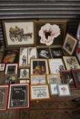 A COLLECTION OF PICTURES AND PRINTS TO INCLUDE A FRAMED OIL ON BOARD SIGNED DAVINA K, PASTEL STILL