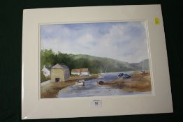 AN UNFRAMED AND MOUNTED WATERCOLOUR, ENTITLED 'LERRYN, CORNWALL', SIGNED JOHN BENNETT