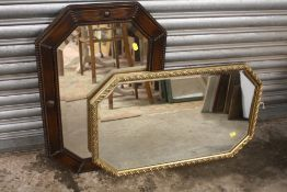 TWO OCTAGONAL BEVEL EDGED WALL MIRRORS TO INCLUDE A BEADED OAK FRAMED EXAMPLE SIZES INCLUDING FRAMES