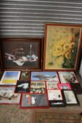 A LARGE QUANTITY OF ASSORTED PRINTS ETC. TO INCLUDE A CARVED WOODEN PANEL, TEDDY BEAR MIRROR,
