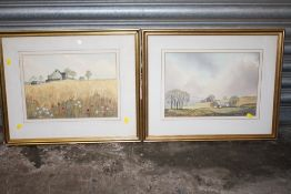 A PAIR OF FRAMED AND GLAZED WATERCOLOURS SIGNED BY JACK ELLIOTT