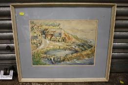 A FRAMED AND GLAZED WATERCOLOUR DEPICTING CRAIL HARBOUR, FIFE, SCOTLAND SIGNED R. CAY - SIZE 36.
