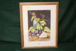 A FRAMED AND GLAZED WATERCOLOUR OF A STILL LIFE TABLE TOP SCENE, SIGNED BEATRICE CRITCHLOW LOWER