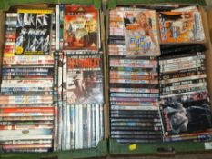 FOUR TRAYS OF DVDS