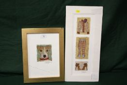 TWO SIGNED NICKY BELTON MIXED MEDIA PICTURES OF A JACK RUSSELL AND LADIES CLOTHING
