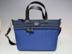 A NEW WITH TAGS LADIES RADLEY TEXTILE NAVY / SAPPHIRE BLUE HANDBAG, zip closure to top edge,