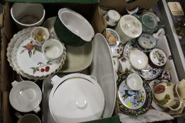TWO TRAYS OF ASSORTED CERAMICS TO INCLUDE ROYAL WORCESTER, WADE BASS ALE JUG, ROYAL DOULTON ETC