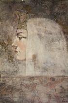 A LARGE MODERN GILT FRAMED EGYPTIAN PORTRAIT PRINT OVERALL SIZE INCLUDING FRAME - 80 CM BY 92 CM