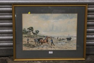 A FRAMED AND GLAZED WATERCOLOUR OF A SHORE LAND WITH HORSE AND CART SIGNED J.H.M. KAY, 54 X 36 CM