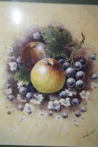A GILT FRAMED WATERCOLOUR STILL LIFE STUDY OF FRUIT BY CHRISTOPHER HUGHES 1983 - 22CM BY 18 CM