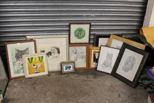 A COLLECTION OF CAT RELATED PICTURES AND PRINTS TO INCLUDE AN ENGRAVING SIGNED NADEL MEYER-