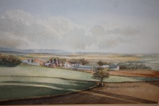 A GILT FRAMED AND GLAZED WATERCOLOUR OF A RURAL LANDSCAPE SIGNED GRAHAM L ADAMS '84 - 54 CM BY 36