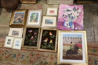 A COLLECTION OF OIL PAINTINGS AND WATERCOLOURS TO INCLUDE ORNITHOLOGICAL OILS, WATERCOLOUR