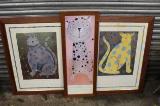 THREE FRAMED AND GLAZED MACKENZIE THORPE CAT PRINTS, LARGEST INCLUDING FRAME 73 X 93 CM