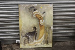 A MODERN PRINT ON CANVAS OF AN ART DECO LADY WITH DOGS, OVERALL SIZE, 60 X 80 CM