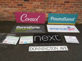 A SELECTION OF ACRYLIC SHOP RETAIL SIGNS to include Greggs, Next, American Golf, W 124 cm TOGETHER