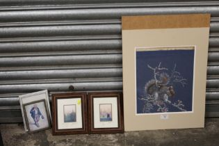 A UNFRAMED PASTEL PICTURE OF A SQUIRREL ON A BRANCH TOGETHER WITH TWO SIGNED LIMITED EDITION GLYN
