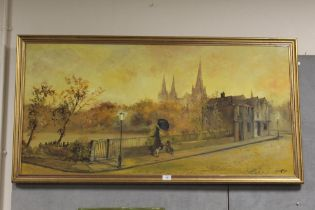 A LARGE GILT FRAMED OIL ON BOARD DEPICTING A WOMAN WITH DOG BY RAILINGS, BY CAVAN CORRIGAN, SIGNED