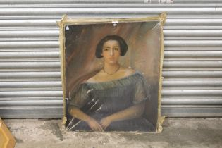 AN ANTIQUE UNFRAMED OIL ON CANVAS PORTRAIT STUDY OF A LADY IN CLASSIC DRESS, A/F - CANVAS BROKEN, 64