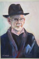 A FRAMED OIL ON BOARD PORTRAIT STUDY OF A GENTLEMAN IN A HAT ENTITLED 'MAKE ME AN OFFER ON THIS