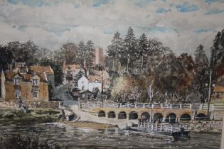 A FRAMED AND GLAZED WATERCOLOUR ENTITLED ARLEY FERRY (WORCS) SIGNED R W DICKENS LOWER CENTRE - 50.