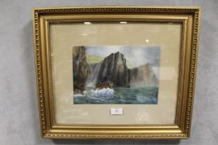 A GILT FRAMED AND GLAZED WATERCOLOUR OF A SEA CLIFF, INITIALLED K.M, TOGETHER WITH A WATERCOLOUR