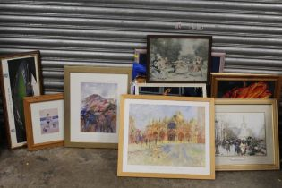 A QUANTITY OF PICTURES AND PRINTS TO INCLUDE WOOL WORKED TAPESTRIES OF SPANISH DANCERS,