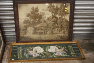 AN ANTIQUE OAK FRAMED AND GLAZED TAPESTRY DEPICTING A WATERMILL TOGETHER WITH A GILT FRAMED
