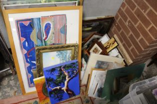 A LARGE QUANTITY OF ASSORTED PICTURES AND PRINTS TO INCLUDE A SALVADOR DALI PRINT, OIL ON CANVAS