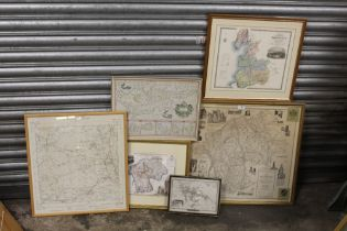 A COLLECTION OF FRAMED AND GLAZED MAPS TO INCLUDE A MAP OF LANCASTER (7)