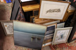 A QUANTITY OF ASSORTED NEEDLEWORK PICTURES ETC. TO INCLUDE MAP OF STAFFORDSHIRE, LIMITED EDITION SUE
