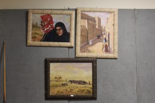 THREE EASTERN STYLE OIL ON CANVAS, TO INCLUDE A STREET SCENE WITH FIGURES, ALL SIGNED A. BAITEM