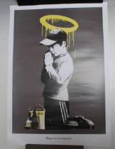 A BANKSY 'FORGIVE US OUR TRESPASSING' POSTER 69.4 x 42 cm