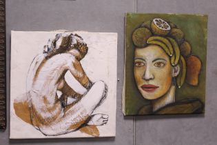 TWO UNFRAMED OIL ON CANVAS, DEPICTING A SEATED FEMALE NUDE AND A PORTRAIT STUDY OF A LADY WITH FRUIT